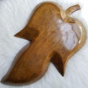 Vintage Kitchen - Boho Vintage Leaf Shaped Wooden Tray
